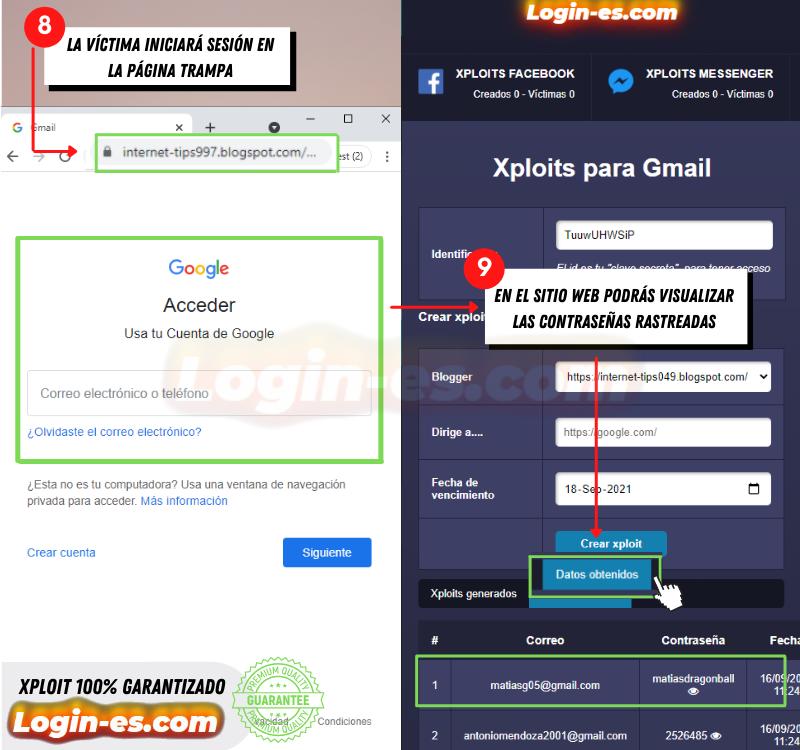 hackear gmail con xploits
